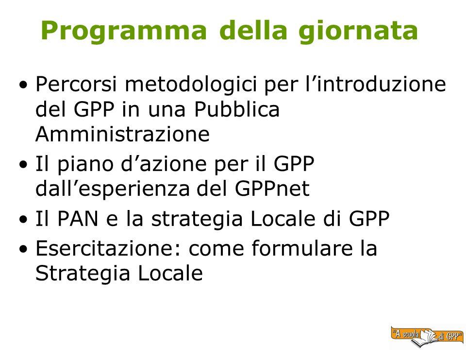 Programma della giornata Percorsi metodologici per lintroduzione del GPP in una Pubblica Amministrazione Il piano dazione per il GPP dallesperienza del GPPnet Il PAN e la strategia Locale di GPP Esercitazione: come formulare la Strategia Locale