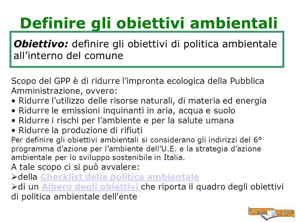 Definire gli obiettivi ambientali Obiettivo: definire gli obiettivi di politica ambientale allinterno del comune Scopo del GPP è di ridurre limpronta