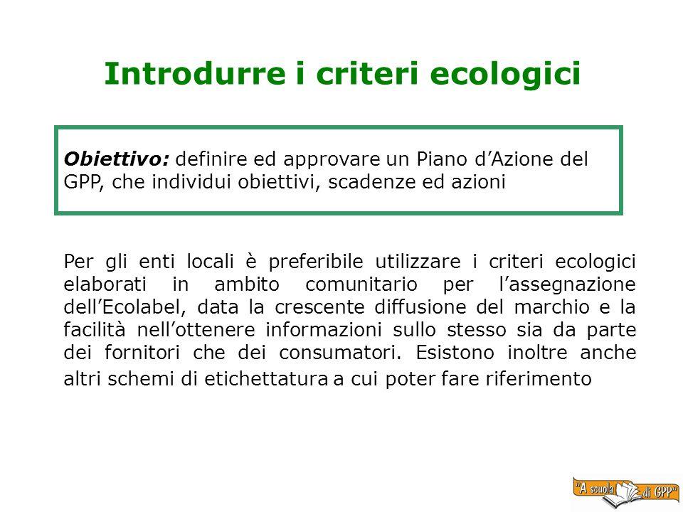 Introdurre i criteri ecologici Obiettivo: definire ed approvare un Piano dAzione del GPP, che individui obiettivi, scadenze ed azioni Per gli enti loc