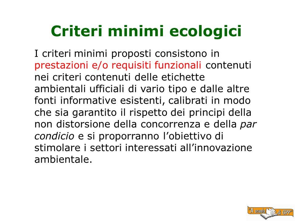 Criteri minimi ecologici I criteri minimi proposti consistono in prestazioni e/o requisiti funzionali contenuti nei criteri contenuti delle etichette