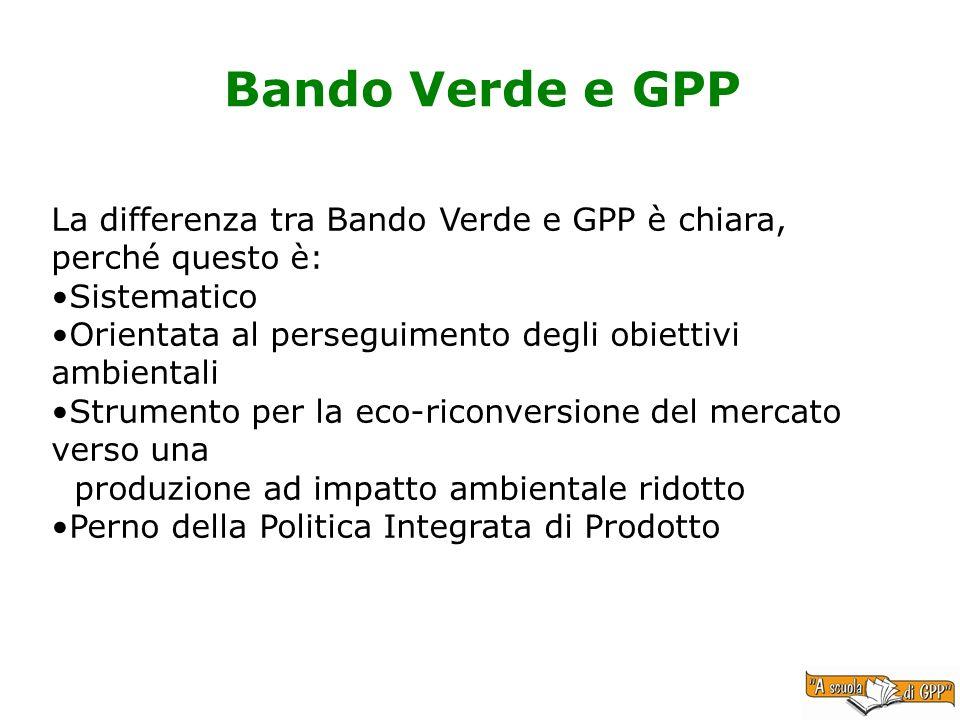 Bando Verde e GPP La differenza tra Bando Verde e GPP è chiara, perché questo è: Sistematico Orientata al perseguimento degli obiettivi ambientali Str