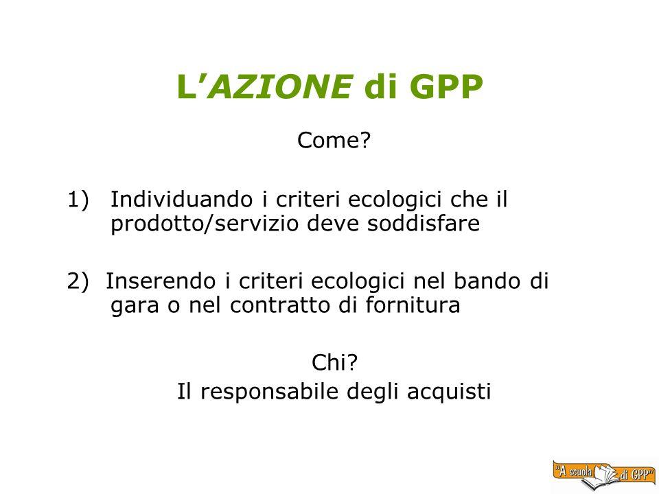 LAZIONE di GPP Come? 1)Individuando i criteri ecologici che il prodotto/servizio deve soddisfare 2) Inserendo i criteri ecologici nel bando di gara o