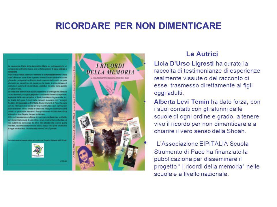 RICORDARE PER NON DIMENTICARE Le Autrici Licia DUrso Ligresti ha curato la raccolta di testimonianze di esperienze realmente vissute o del racconto di