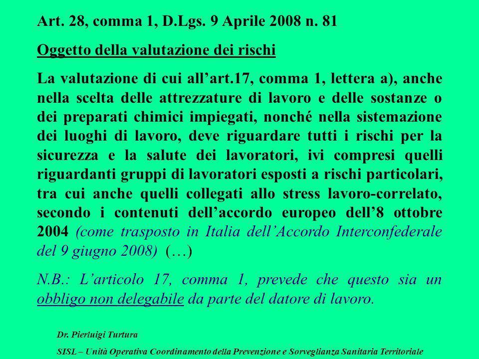 Dr. Pierluigi Turtura SISL – Unità Operativa Coordinamento della Prevenzione e Sorveglianza Sanitaria Territoriale Art. 28, comma 1, D.Lgs. 9 Aprile 2