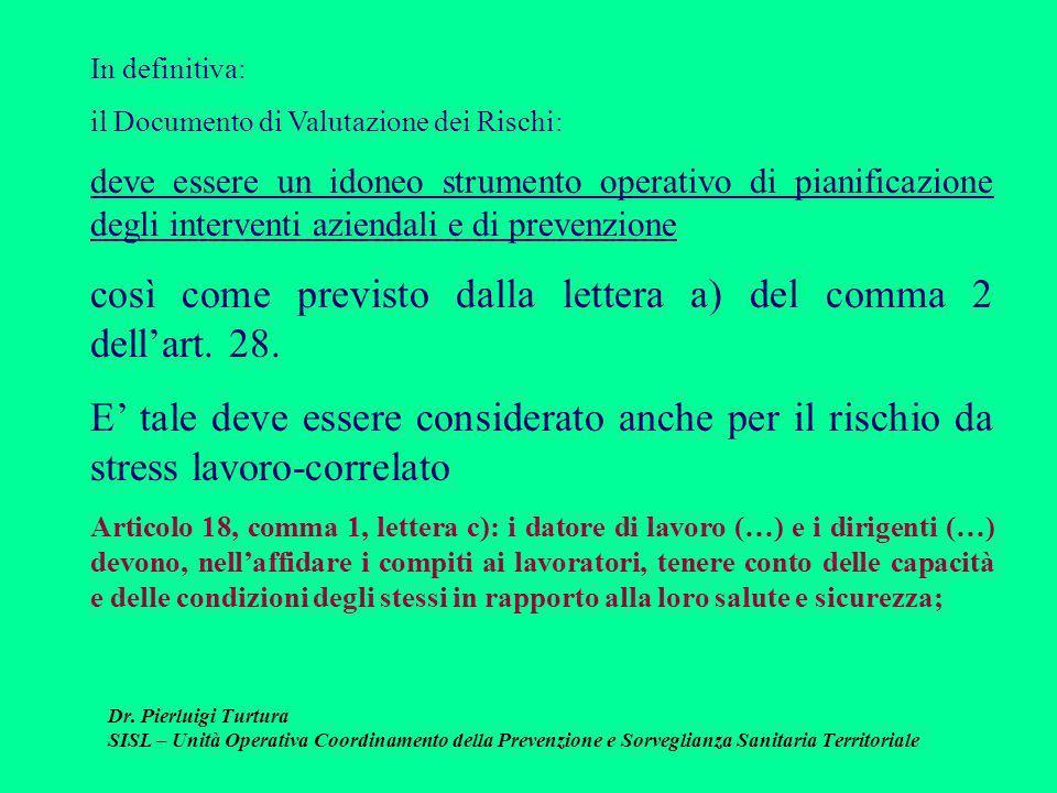 Dr. Pierluigi Turtura SISL – Unità Operativa Coordinamento della Prevenzione e Sorveglianza Sanitaria Territoriale In definitiva: il Documento di Valu
