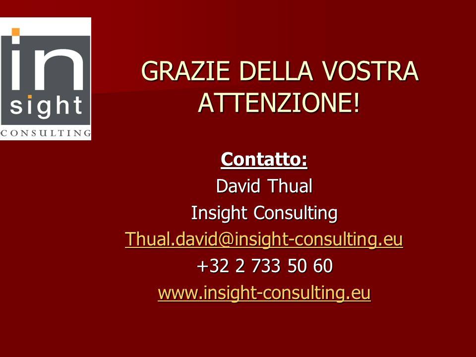 GRAZIE DELLA VOSTRA ATTENZIONE! Contatto: David Thual Insight Consulting Thual.david@insight-consulting.eu +32 2 733 50 60 www.insight-consulting.eu
