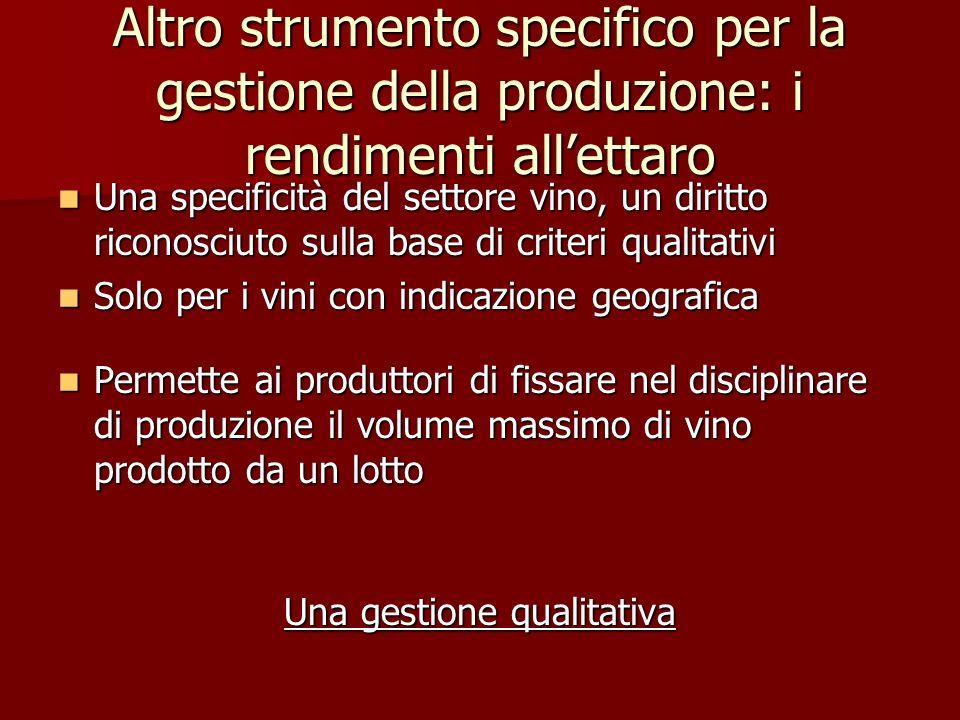 Altro strumento specifico per la gestione della produzione: i rendimenti allettaro Una specificità del settore vino, un diritto riconosciuto sulla bas