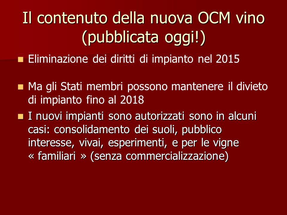 Il contenuto della nuova OCM vino (pubblicata oggi!) Eliminazione dei diritti di impianto nel 2015 Ma gli Stati membri possono mantenere il divieto di