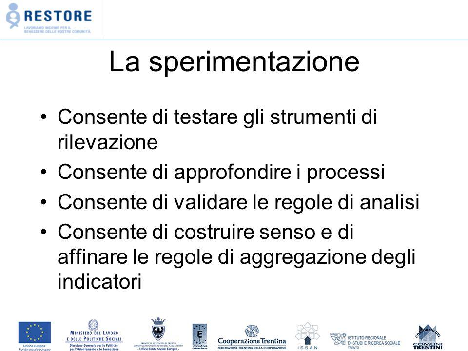 La sperimentazione Consente di testare gli strumenti di rilevazione Consente di approfondire i processi Consente di validare le regole di analisi Consente di costruire senso e di affinare le regole di aggregazione degli indicatori