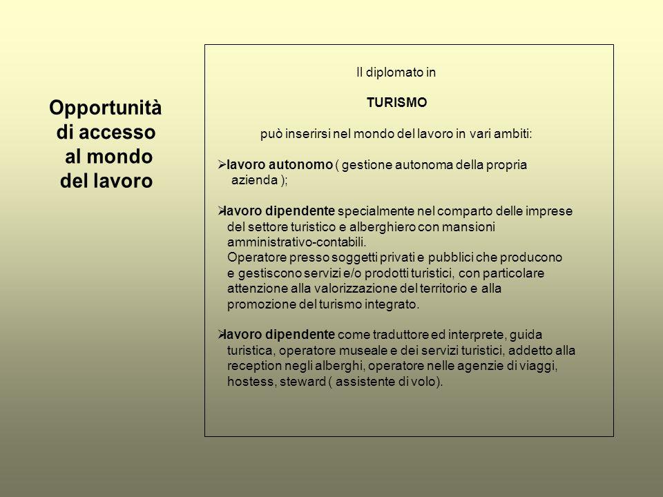 Il diplomato in TURISMO può inserirsi nel mondo del lavoro in vari ambiti: lavoro autonomo ( gestione autonoma della propria azienda ); lavoro dipende