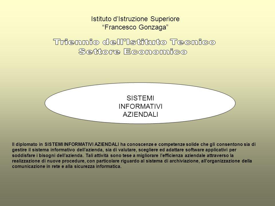 Istituto dIstruzione Superiore Francesco Gonzaga SISTEMI INFORMATIVI AZIENDALI Il diplomato in SISTEMI INFORMATIVI AZIENDALI ha conoscenze e competenz