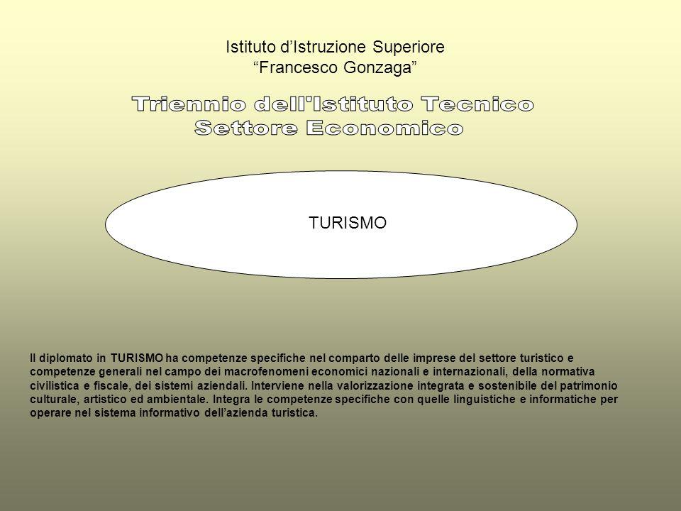 Istituto dIstruzione Superiore Francesco Gonzaga TURISMO Il diplomato in TURISMO ha competenze specifiche nel comparto delle imprese del settore turis