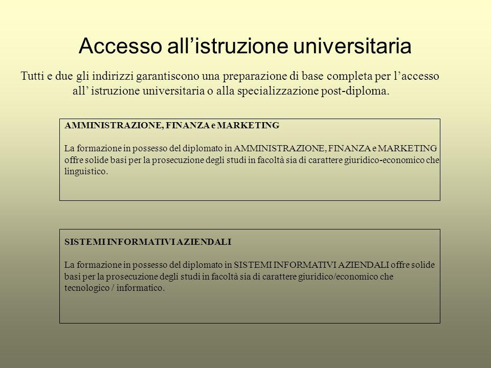 Accesso allistruzione universitaria Tutti e due gli indirizzi garantiscono una preparazione di base completa per laccesso all istruzione universitaria