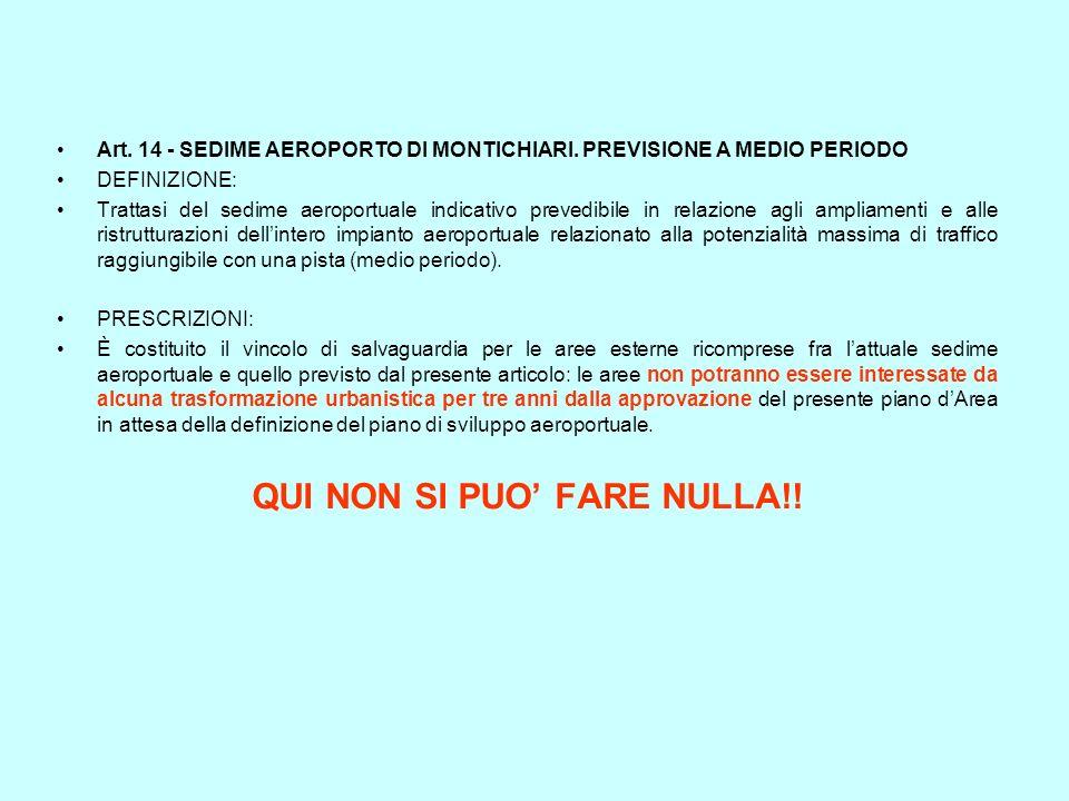 Art. 14 - SEDIME AEROPORTO DI MONTICHIARI. PREVISIONE A MEDIO PERIODO DEFINIZIONE: Trattasi del sedime aeroportuale indicativo prevedibile in relazion