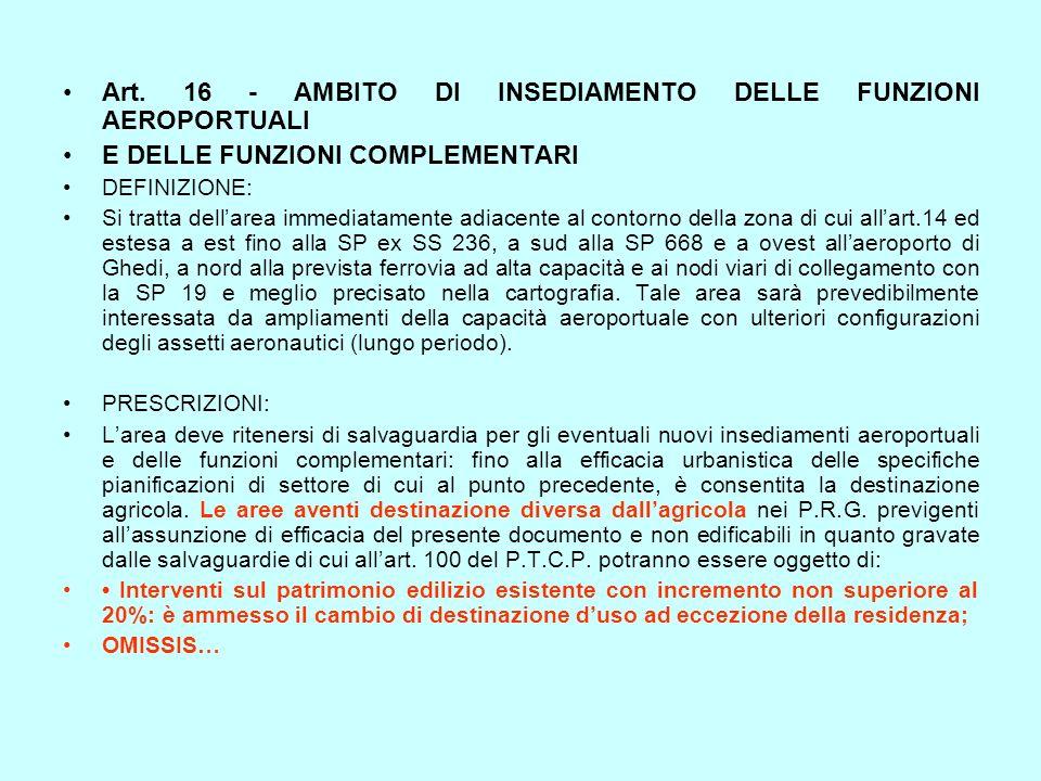 Art. 16 - AMBITO DI INSEDIAMENTO DELLE FUNZIONI AEROPORTUALI E DELLE FUNZIONI COMPLEMENTARI DEFINIZIONE: Si tratta dellarea immediatamente adiacente a