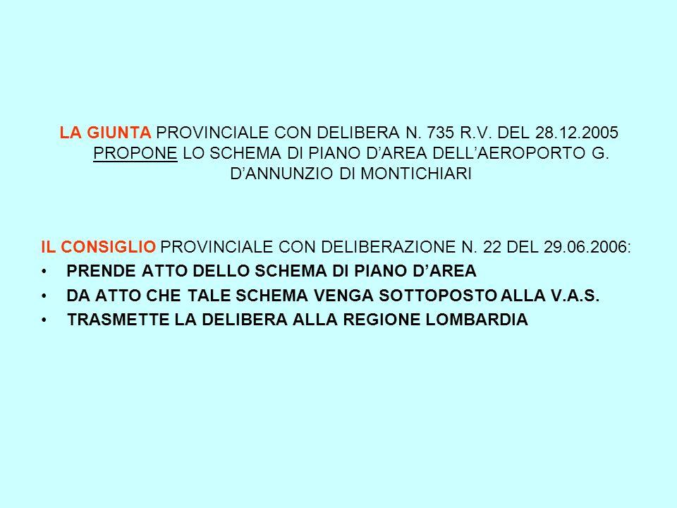 LA GIUNTA PROVINCIALE CON DELIBERA N. 735 R.V. DEL 28.12.2005 PROPONE LO SCHEMA DI PIANO DAREA DELLAEROPORTO G. DANNUNZIO DI MONTICHIARI IL CONSIGLIO