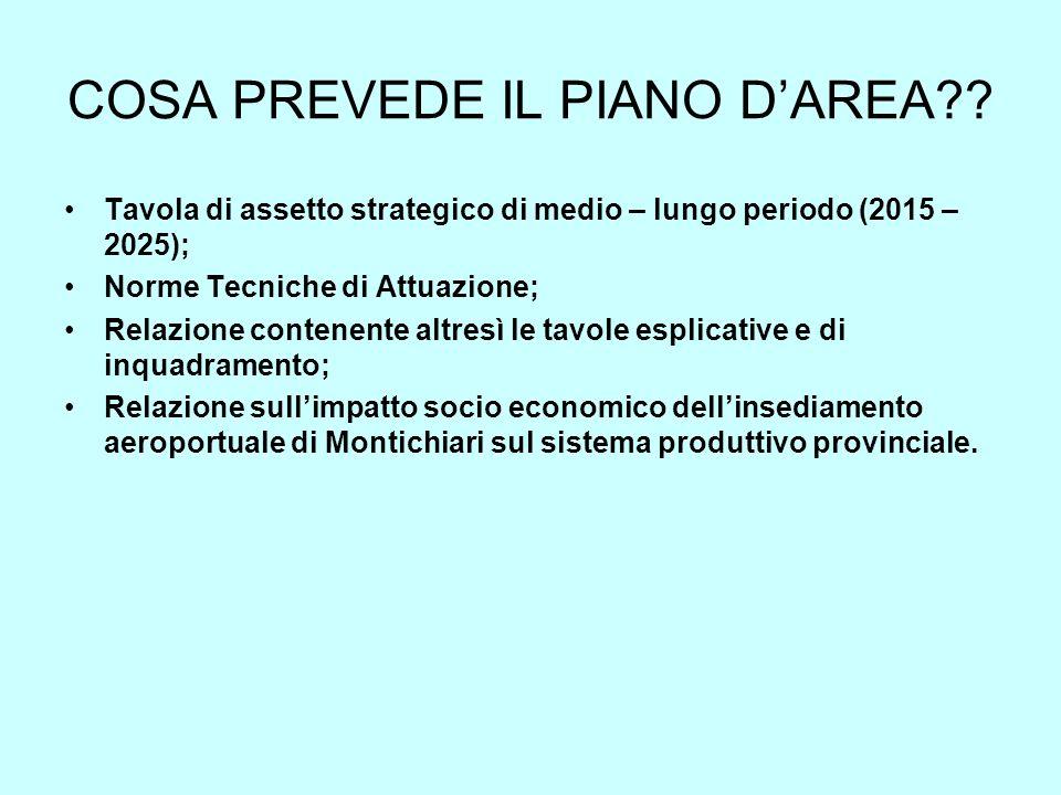 COSA PREVEDE IL PIANO DAREA?? Tavola di assetto strategico di medio – lungo periodo (2015 – 2025); Norme Tecniche di Attuazione; Relazione contenente