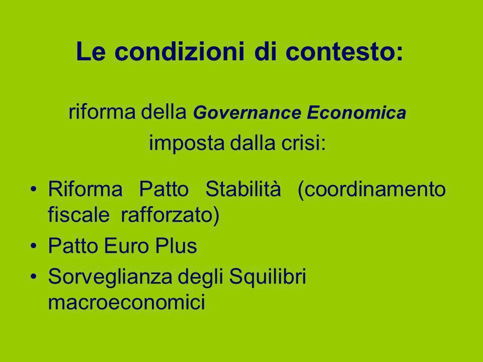 Le condizioni di contesto: riforma della Governance Economica imposta dalla crisi: Riforma Patto Stabilità (coordinamento fiscale rafforzato) Patto Eu
