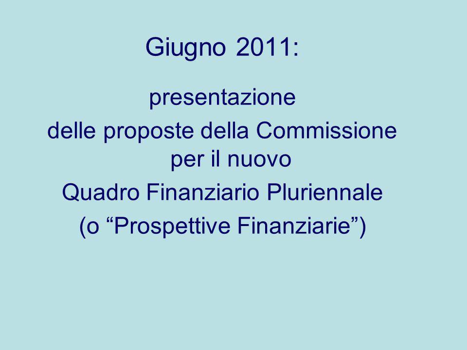 Giugno 2011: presentazione delle proposte della Commissione per il nuovo Quadro Finanziario Pluriennale (o Prospettive Finanziarie)