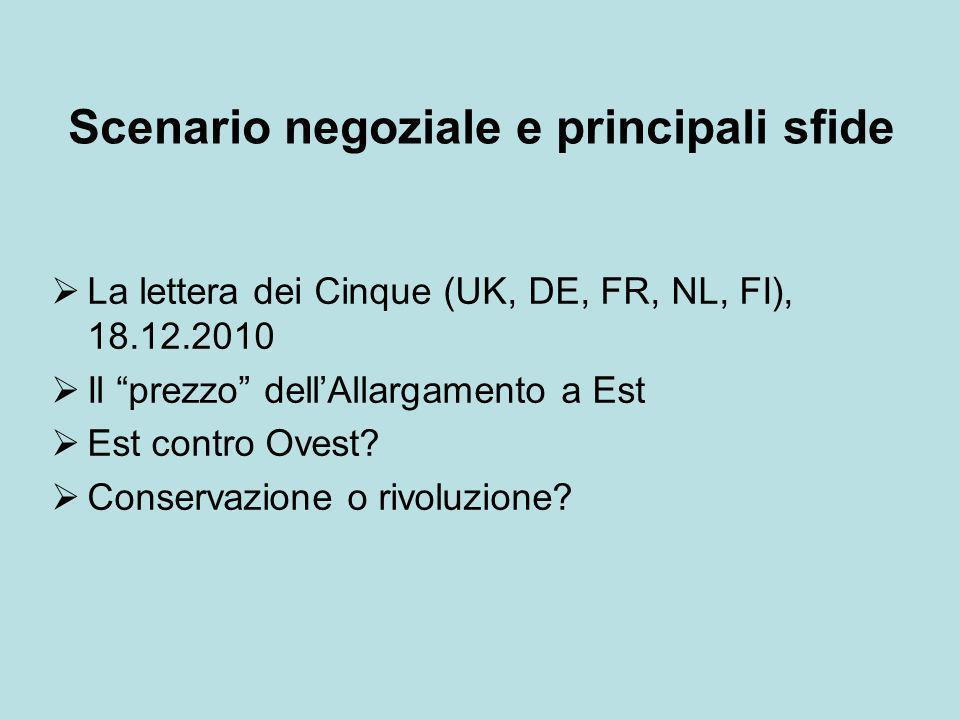 Scenario negoziale e principali sfide La lettera dei Cinque (UK, DE, FR, NL, FI), 18.12.2010 Il prezzo dellAllargamento a Est Est contro Ovest? Conser