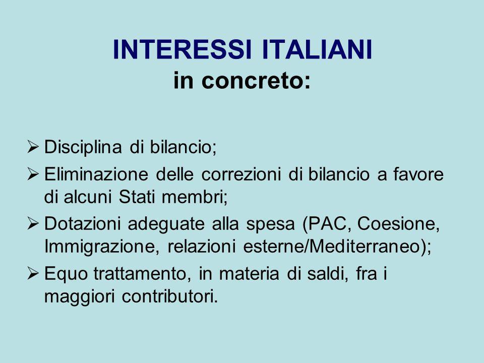 INTERESSI ITALIANI in concreto: Disciplina di bilancio; Eliminazione delle correzioni di bilancio a favore di alcuni Stati membri; Dotazioni adeguate