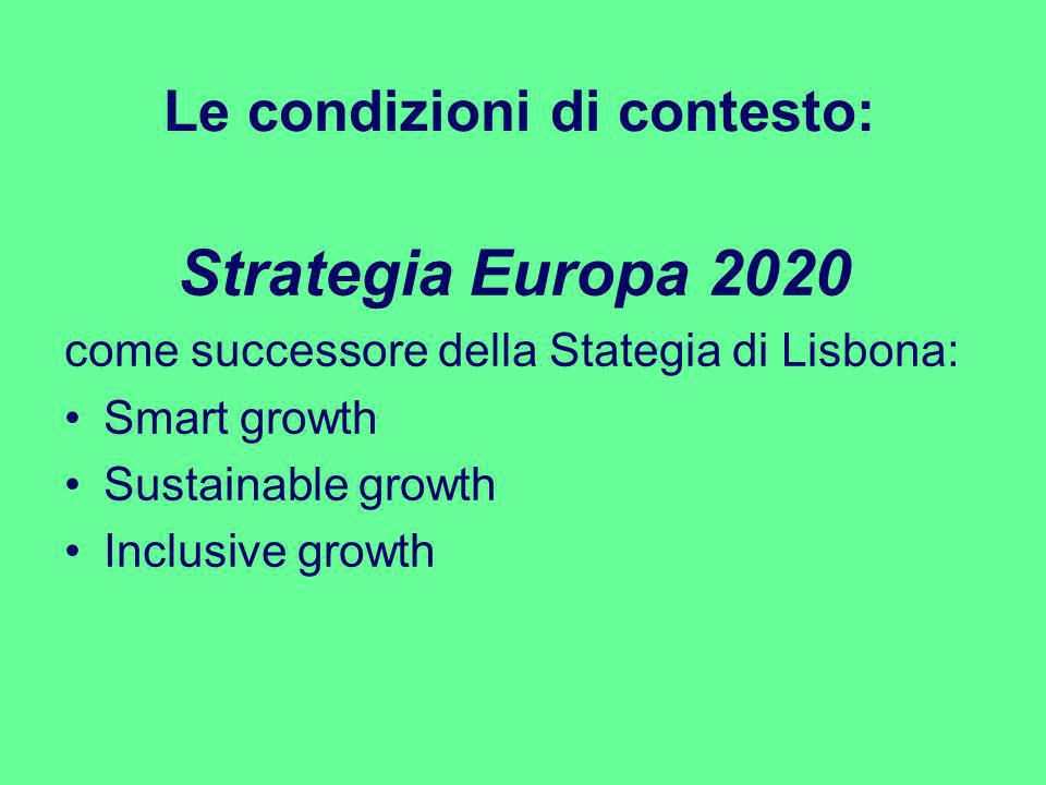 Le condizioni di contesto: Strategia Europa 2020 come successore della Stategia di Lisbona: Smart growth Sustainable growth Inclusive growth