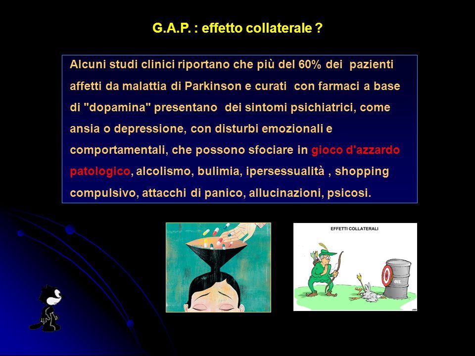 G.A.P. : effetto collaterale ? Alcuni studi clinici riportano che più del 60% dei pazienti affetti da malattia di Parkinson e curati con farmaci a bas