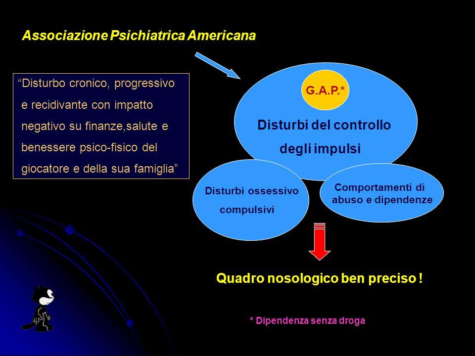 Associazione Psichiatrica Americana Disturbi del controllo degli impulsi G.A.P.* Disturbi ossessivo compulsivi Comportamenti di abuso e dipendenze Quadro nosologico ben preciso .