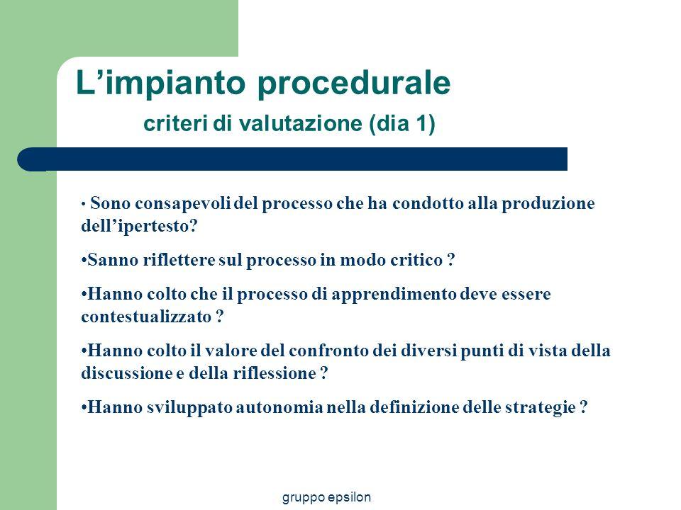 gruppo epsilon Limpianto procedurale criteri di valutazione (dia 1) Sono consapevoli del processo che ha condotto alla produzione dellipertesto? Sanno