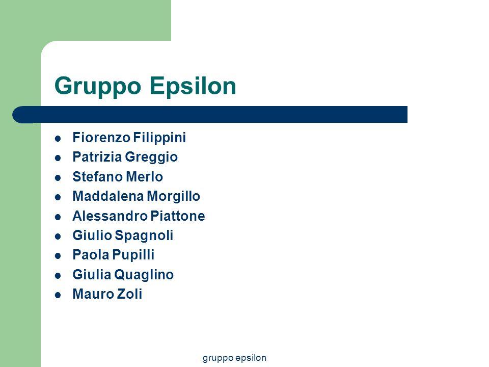gruppo epsilon Gruppo Epsilon Fiorenzo Filippini Patrizia Greggio Stefano Merlo Maddalena Morgillo Alessandro Piattone Giulio Spagnoli Paola Pupilli G