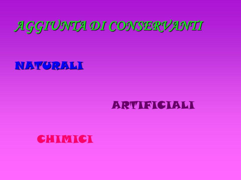 AGGIUNTA DI CONSERVANTI NATURALI ARTIFICIALI CHIMICI