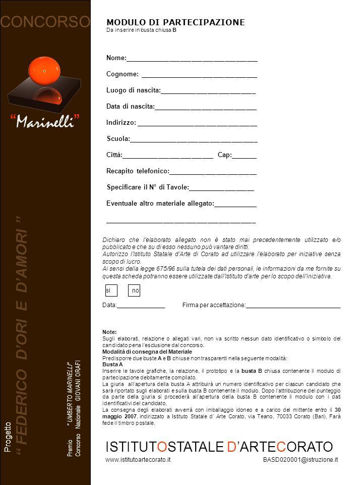 Marinelli CONCORSO Note: Sugli elaborati, relazione o allegati vari, non va scritto nessun dato identificativo o simbolo del candidato pena lesclusion