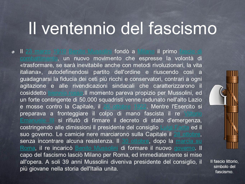 Il ventennio del fascismo Il 23 marzo 1919 Benito Mussolini fondò a Milano il primo fascio di combattimento, un nuovo movimento che espresse la volont