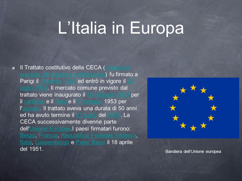 LItalia in Europa Il Trattato costitutivo della CECA (Comunità europea del carbone e dell'acciaio) fu firmato a Parigi il 18 aprile 1951 ed entrò in v