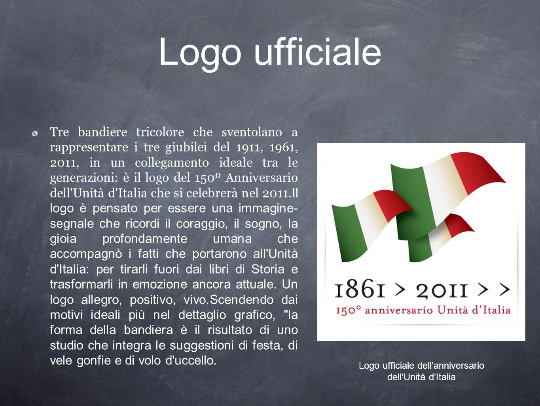 Logo ufficiale Tre bandiere tricolore che sventolano a rappresentare i tre giubilei del 1911, 1961, 2011, in un collegamento ideale tra le generazioni