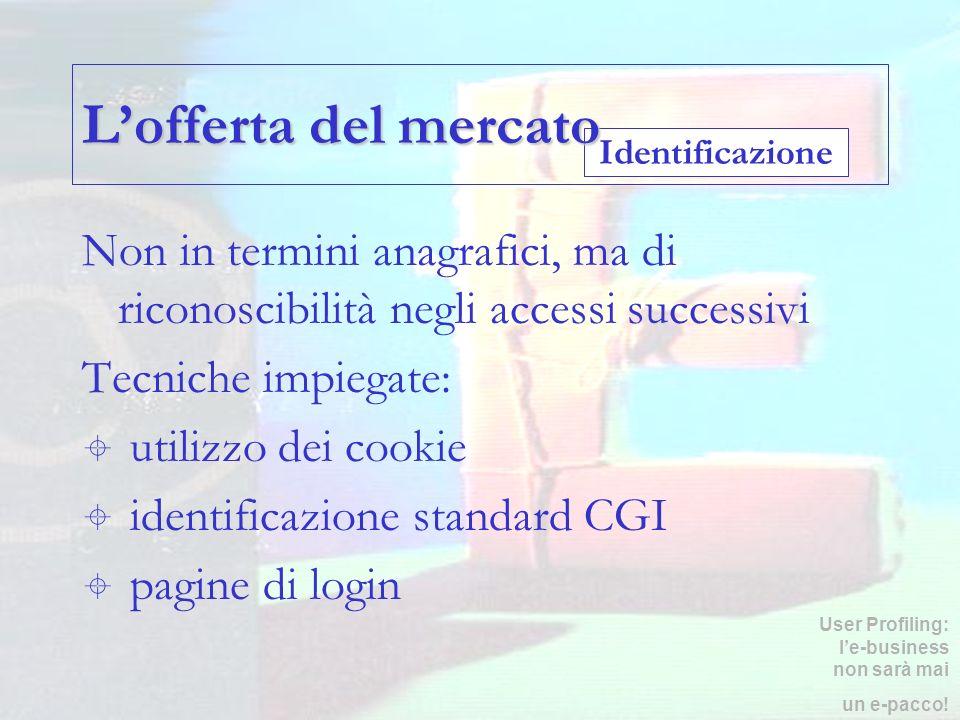 Identificazione Lofferta del mercato Non in termini anagrafici, ma di riconoscibilità negli accessi successivi Tecniche impiegate: utilizzo dei cookie