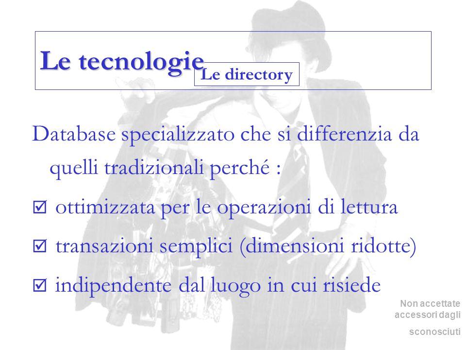 Le directory Le tecnologie Database specializzato che si differenzia da quelli tradizionali perché : ottimizzata per le operazioni di lettura transazi