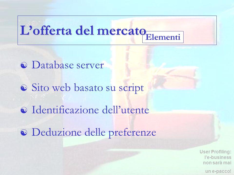 Elementi Lofferta del mercato Database server Sito web basato su script Identificazione dellutente Deduzione delle preferenze User Profiling: le-busin