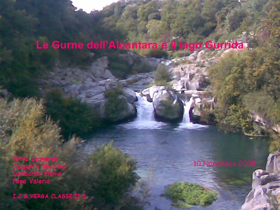 Le Gurne dellAlcantara e il lago Gurrida 10 Novembre 2008 Arria Leonardo Cassaniti Martina Lombardo Elenia Papa Valeria I.C.G.VERGA CLASSE II B.