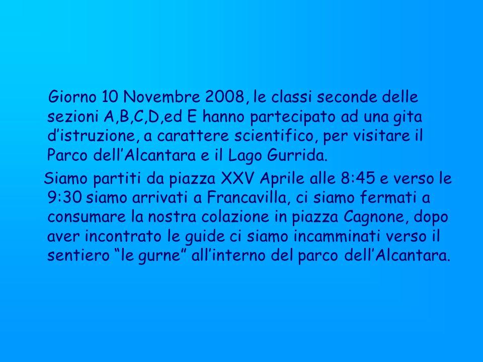 Giorno 10 Novembre 2008, le classi seconde delle sezioni A,B,C,D,ed E hanno partecipato ad una gita distruzione, a carattere scientifico, per visitare