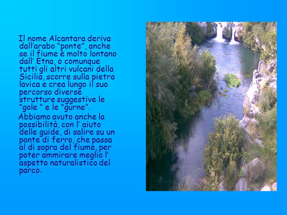 Il nome Alcantara deriva dallarabo ponte, anche se il fiume è molto lontano dall Etna, o comunque tutti gli altri vulcani della Sicilia, scorre sulla