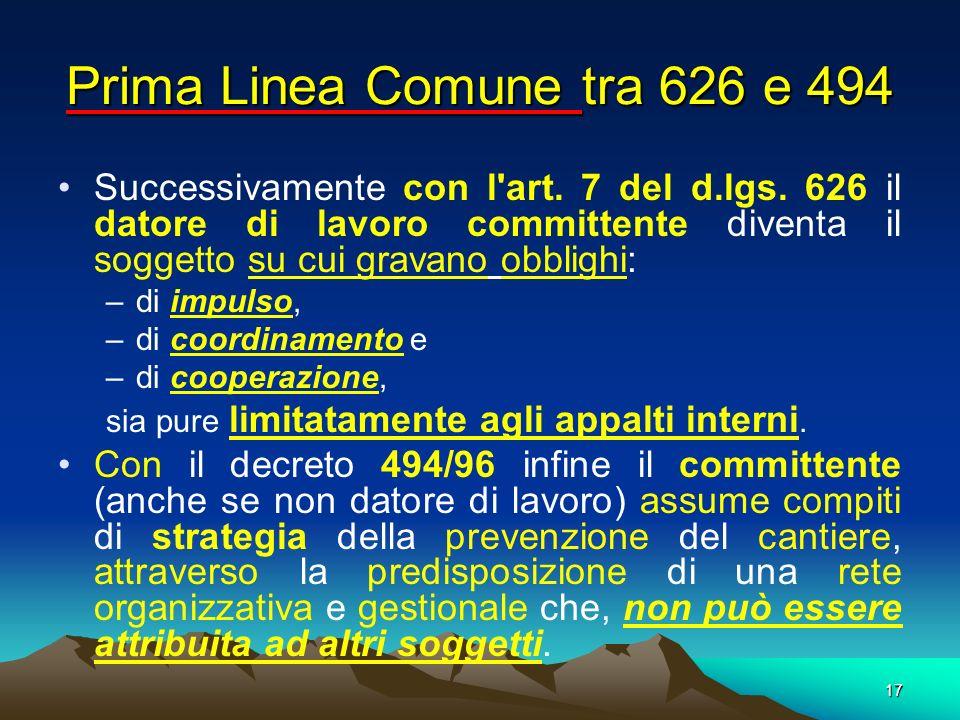 17 Successivamente con l'art. 7 del d.lgs. 626 il datore di lavoro committente diventa il soggetto su cui gravano obblighi: –di impulso, –di coordinam