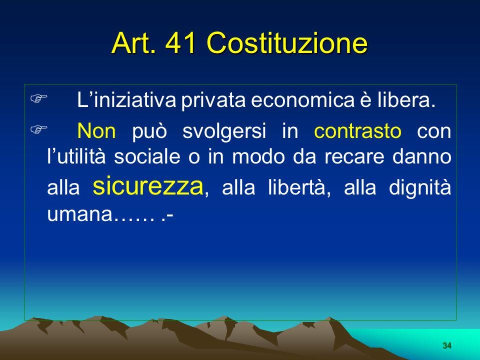 34 Liniziativa privata economica è libera. Non può svolgersi in contrasto con lutilità sociale o in modo da recare danno alla sicurezza, alla libertà,