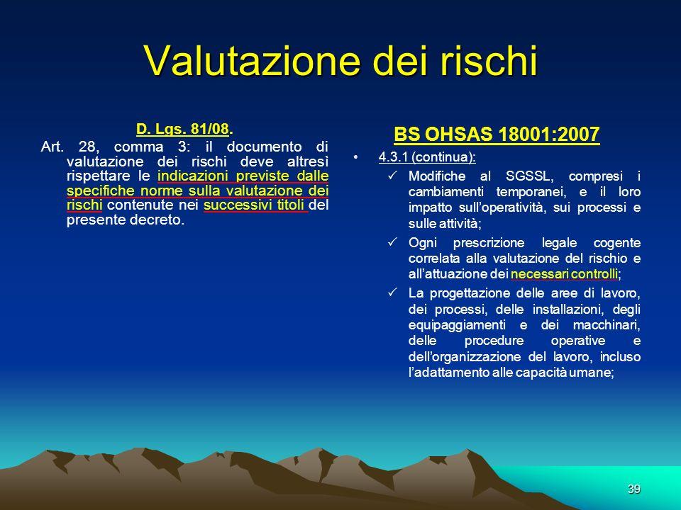 D. Lgs. 81/08. Art. 28, comma 3: il documento di valutazione dei rischi deve altresì rispettare le indicazioni previste dalle specifiche norme sulla v