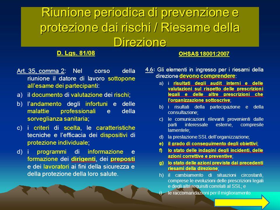 D. Lgs. 81/08 Art. 35, comma 2:Nel corso della riunione il datore di lavoro sottopone allesame dei partecipanti: a)il documento di valutazione dei ris