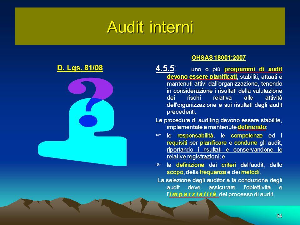 OHSAS 18001:2007 4.5.5: uno o più programmi di audit devono essere pianificati, stabiliti, attuati e mantenuti attivi dall'organizzazione, tenendo in