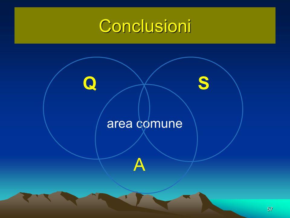 Conclusioni 57 Q S area comune A