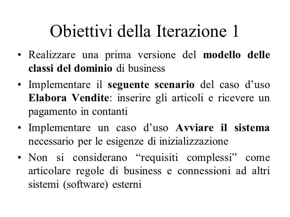 Obiettivi della Iterazione 1 Realizzare una prima versione del modello delle classi del dominio di business Implementare il seguente scenario del caso