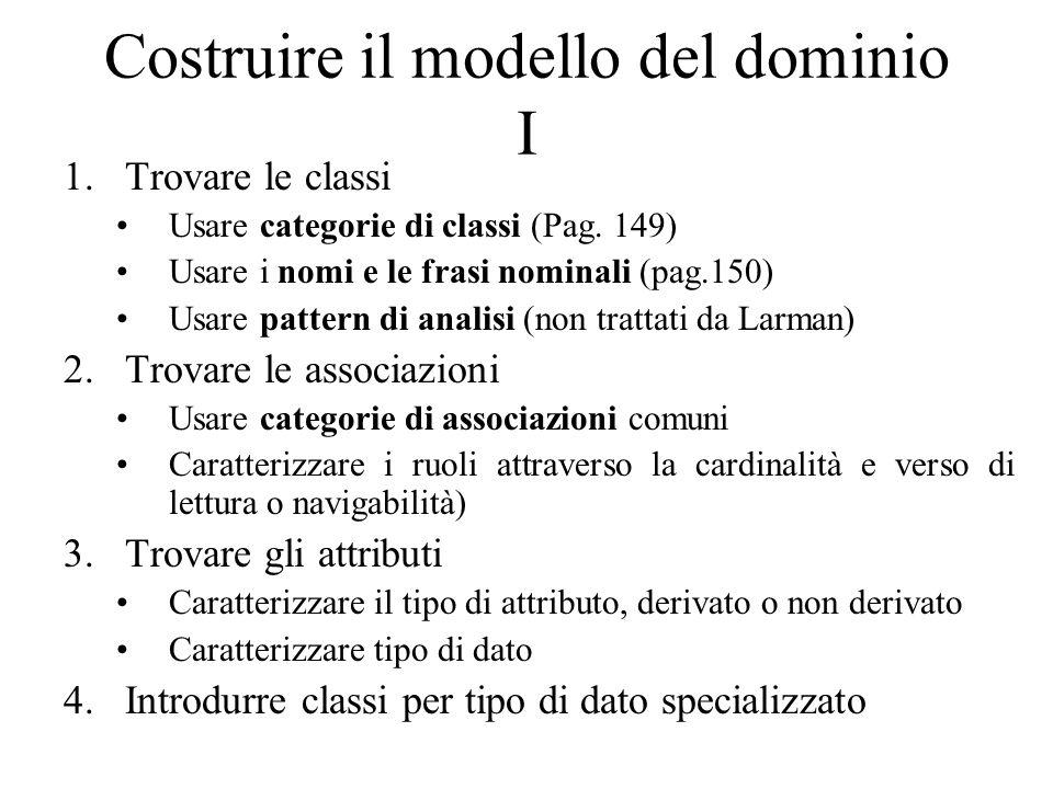 Costruire il modello del dominio I 1.Trovare le classi Usare categorie di classi (Pag. 149) Usare i nomi e le frasi nominali (pag.150) Usare pattern d