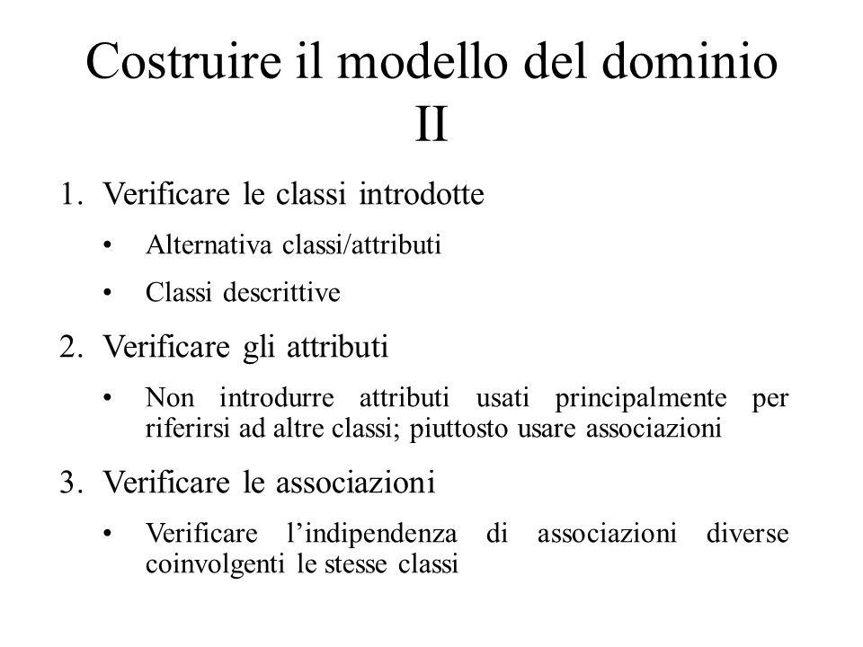 Costruire il modello del dominio II 1.Verificare le classi introdotte Alternativa classi/attributi Classi descrittive 2.Verificare gli attributi Non i
